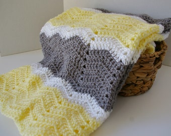 Crochet Baby Blanket, Crochet Baby Afghan in Yellow, Grey & White Newborn
