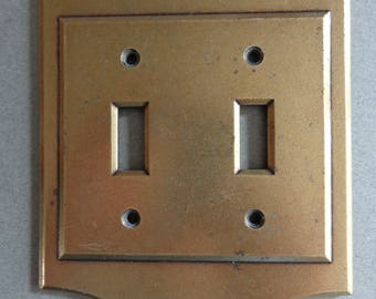 Vintage Amerock Double Switchplate Toggle Switch Combo Cover Rectangular shape Antique Brass Switch Plate Metal