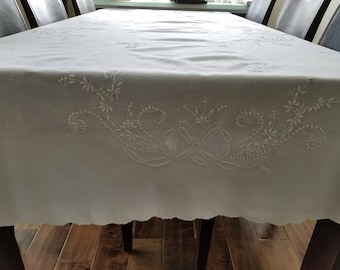 Hand Embroidery Linen And Cotton Vintage Table Linen