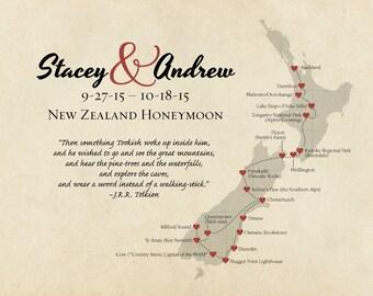 New Zealand Map Print, Personalized Anniversary Gift, Travel Gift, Wedding Gift, Destination Wedding Keepsake, Honeymoon Memento Canvas