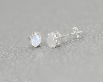 Rainbow Moonstone Sterling Silver 4x6mm Oval Faceted Stud Earrings