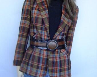 plaid blazer, vintage blazer, suit jacket, checkered, vintage blazer small