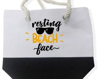 Color Block Beach Tote Bags