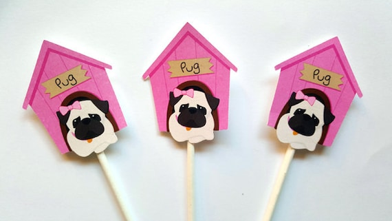 Pug Cupcake Toppers Puppy Party Cupcake Toppers Girl Pug