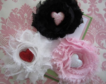 Girl hair clips - valentines day hair clips - girl barrettes - no slip hair clips
