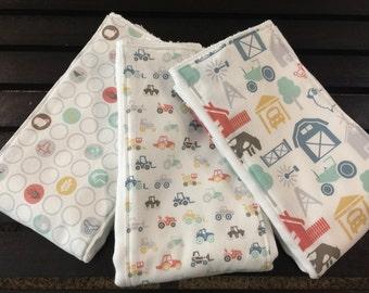 Farm Baby burp cloth set in Farm Fresh fabrics