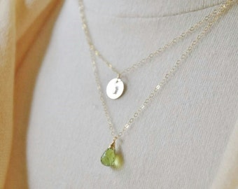 Personalized Layered Necklace - Custom Birthstone Necklace/ Dainty Gold Necklace/ Engravable Necklace/Monogram Necklace/Hand stamped Initial