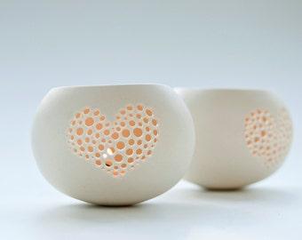 Heart Shaped Candle Holder. Porcelain Candle Holder. Romantic Valentineu0027s  Gift. Porcelain Tea Light
