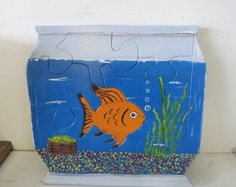 Fish in Bowl Wooden Puzzle