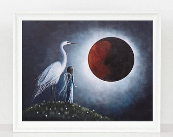 Night With The Great Egret - Fantasy Art Prints - Fairy Pictures - Best Seller - Full Red Moon - Dreamy Landscapes - 8x10 - Limited Edition