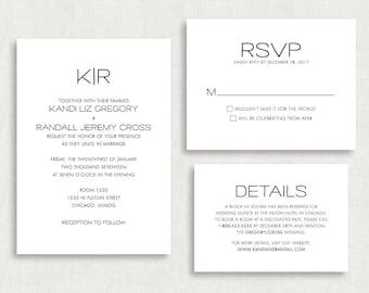 Wedding Invitation and RSVP Card (Kandi) -Digital File, PDF, DIY, Printable, Calligraphy, Script, Black and White, Monogram, Stripes, Print