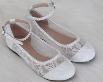 Girls WHITE LACE Shoes with with PEARLS - For Flower Girls, Baptism and Christening Shoes