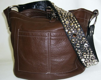 The Ball Buster bag in Brown, stones and studs on shoulderstrap