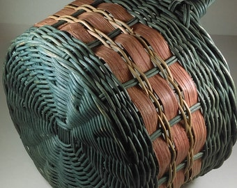 Vintage wicker and Straw basket with two side handles  Round Basket Made in Indonesia Easter Decoration