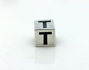 Sterling Silver Alphabet T Block Cube Square Bead 4mm