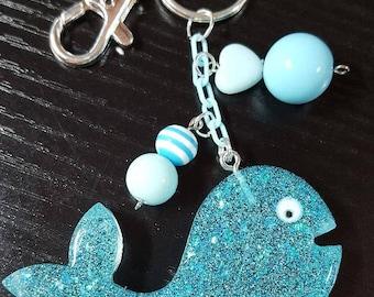 Resin Whale,  Fairy Kei, Pastel Goth, Purse Charm, Key chain