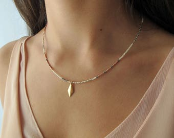"Necklace ""Lu"" Miyukiperlen with pendant 14k gold filled, diamond pendant, pendant, Miyukiperlen, graphic jewelry, gift, Christmas gift"