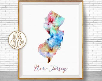 New Jersey Print New Jersey Art Print New Jersey Map Art Print Map Print Map Poster Watercolor Map Office Decor Office Poster ArtPrintZone