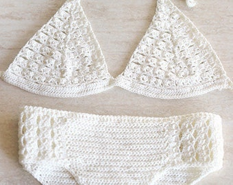 Crochet bikini, Swimsuit crochet with microfibre thread, Crochet swimwear, Vintage crochet lace bikini, Crochet bikini