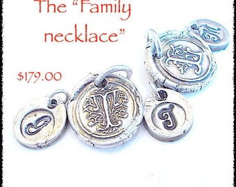 The FAMILY Tree Necklace Wax Seal Jewelry-  Personalized Silver Initials, 5 Initial PACKAGE, Grandmother Gift, Gift for MOM, Antique Jewelry