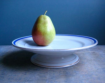 a vintage French compotier, white and blue, pedestal plate, cake plate, serving dish, fruit stand, St. Amand