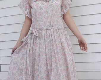 Sheer Floral Dress Retro Country 80s Vintage S