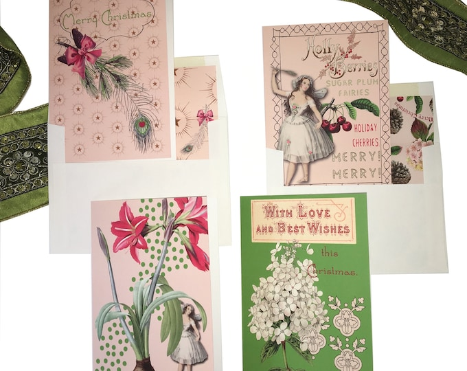 "Christmas no longer available! Don't miss the Spring Collection coming soon! Fairy Christmas Card Set- ""Sugar Plum Fairy"" -"