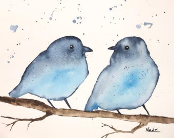 Original watercolor, birds, 9x12 made on watercolor paper 140 lbs.