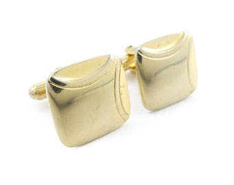 Vintage Square Cuff Links, Gold Tone, STW67