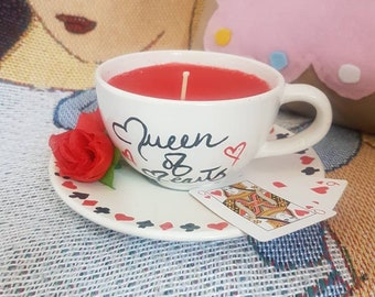 Alice in wonderland queen of hearts teacup candle