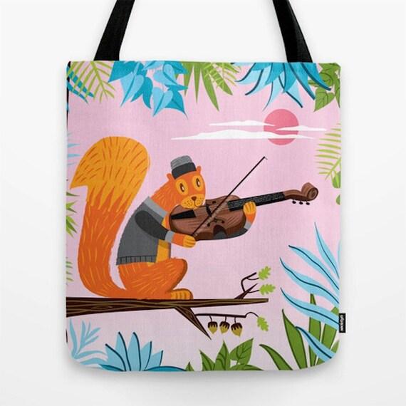 """Red Squirrel Serenade - Tote Bag / Book Bag - 16"""" x 16"""""""