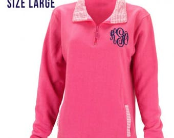 Monogrammed Pink Pullover with Gingham Collar