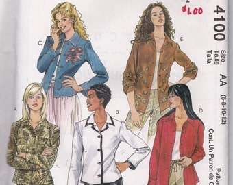 McCall's 4100 Misses' Unlined Jacket in Two Lengths Pattern, UNCUT, Size 6-8-10-12, 2003