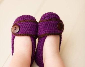 Crochet Toddler girls ballet flat house slippers Sizes 4-9  Any Color custom made to order
