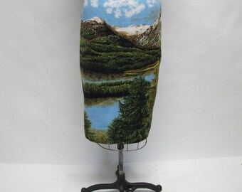 CUSTOM Mixed Media Mountain View Stripey Pencil Skirt YOUR SIZE
