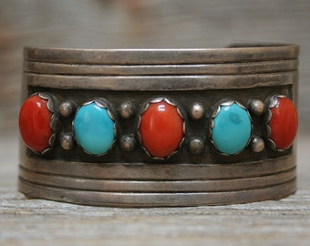 Old Pawn Navajo Native American Turquoise & Coral Sterling Silver Cuff Bracelet