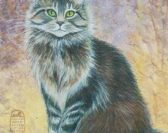 Maine Coon cat art print, fluffy tabby