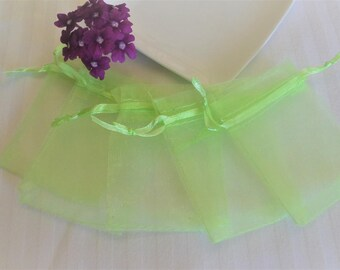 5 bags, pouches, organza, lime green gift pouches