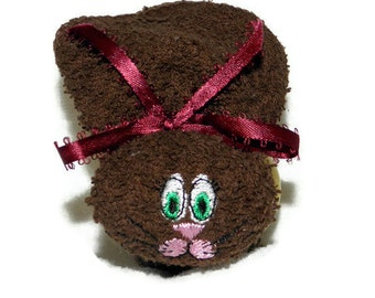 Boo-boo Bunny Ice Pack Embroidery BROWN Rabbit for Baby Shower Basket