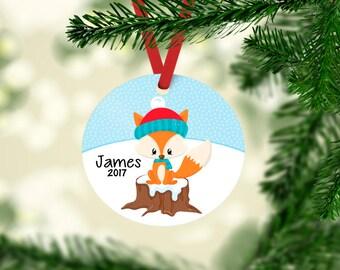 Children's Christmas Ornament, fox ornament, Keepsake Ornament, Baby's 1st Christmas, personalized ornament, baby's 1st christmas