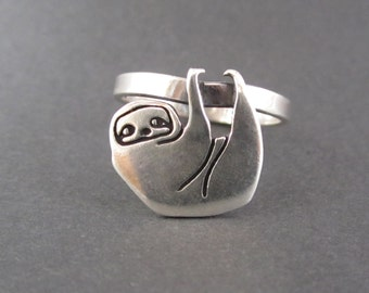 Sterling Silver Sloth Ring - Silver Sloth Ring - Sloth jewelry
