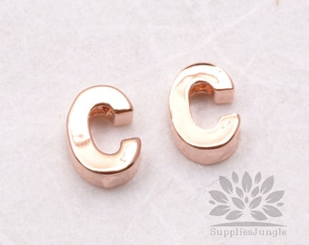 "IP002-GRG-C// Glossy Rose Gold Plated Simple Initial ""C"" Pendant, 2 pcs"