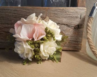 White Rose and Blush (Light Pink) Hydrangea Wrist Corsage with Mixed Greenery, Flowers and Burlap
