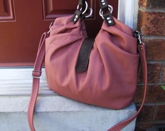 Pink leather purse, pleated satchel, messenger, backpack, shoulder tote, handheld bag, large leather bag - Rusty pink