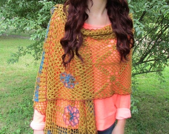 Pattern only -Carmen Shawl pattern crochet lace pattern shawlette rectangle scarf crocheted shawl