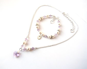 Flower Girl Necklace Bracelet Set, Flower Girl Jewelry Set, Light Amethyst, Personalized Flower Girl Jewelry, Flower Girl Gift