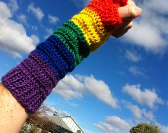 Rainbow Pride Fingerless Mittens