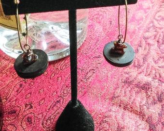 Coconut Earring Amber and Coconut Hoop Earring Natural Elements Earring Bronze Hoop Earring Bohemian Jewelry