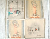 Four vintage Art Deco Christmas cards gray tones stylized 1930's 1940's