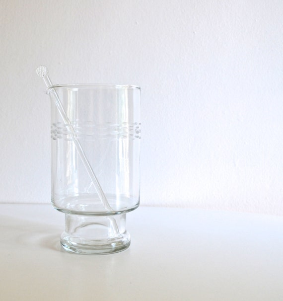 SALE * Mid Century Etched Pattern Glass Martini Pitcher